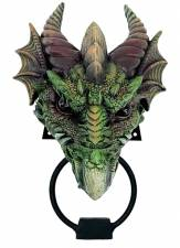 KRYST GOTHIC GREEN DRAGON DOOR KNOCKER 23CM